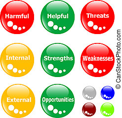 SWOT analysis concept button - SWOT analysis concept colored...