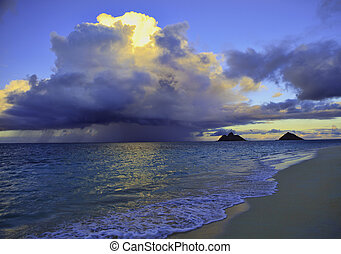 late afternoon offshore rainstorm at lanikai beach, hawaii