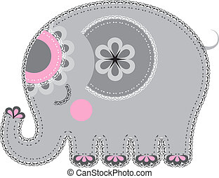 Fabric animal cutout Elephant - Cute animal character for...