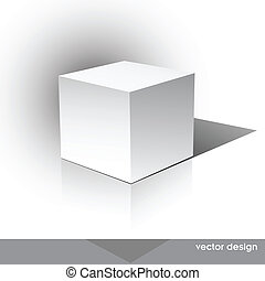 Cube-shaped Software Package Box - Cube on a white...