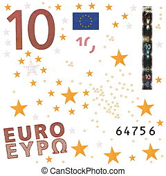 Photo euro bill elements isolated on white background