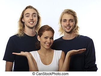 young woman with twin brothers