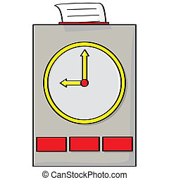 Punch clock - Cartoon illustration of a punch clock with a...