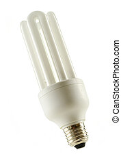 Compact fluorescent lamp isolated on white. Energy saving...
