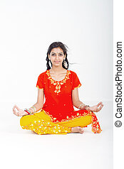 indian woman yoga meditation - young indian woman yoga...