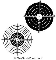 Conjunto, blancos, práctico, pistola, disparando