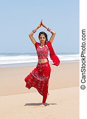 indian woman on beach