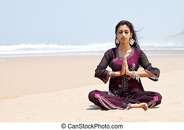 indian woman meditation - indian woman in traditional...