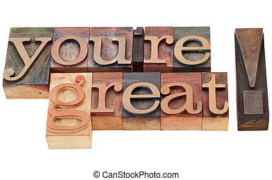you are great compliment - isolated words in vintage wood...