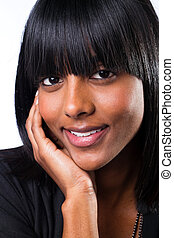 woman closeup portrait - cute indian woman closeup portrait