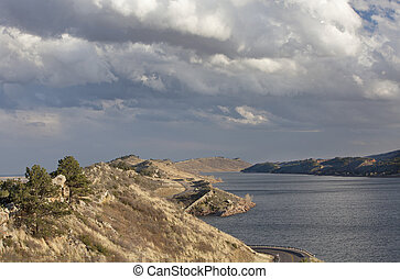 mountain lake in Colorado - Horsetooth Reservoir with...