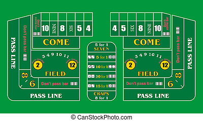 Craps Table Texture - A Typical Casino Craps Table Layout