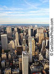 ville, aérien, Horizon,  York, nouveau, vue