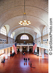 New York City Ellis Island Great Hall - NEW YORK CITY, NY,...