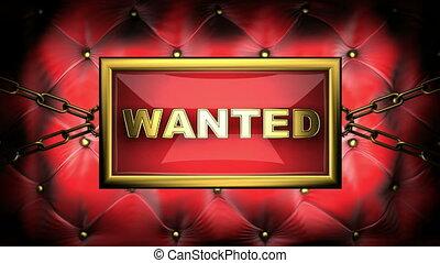 wanted  on velvet background