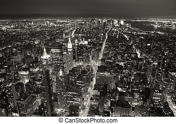 New York City Manhattan aerial view at dusk with urban city...