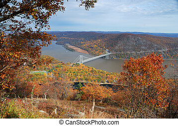 Bear Mountain Autumn forest with bridge