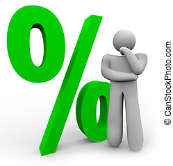 Percentage Sign - Thinking Man and Percent Symbol - A man is...