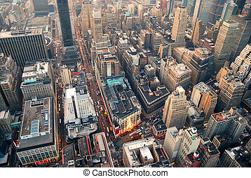 New York City street aerial view