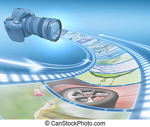 Film Strip Picture - Professional Camera takes pictures The...