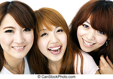 Happy group of asian girls smiling