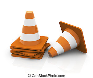 3d traffic cones - stacked - 3d render of reflective stacked...