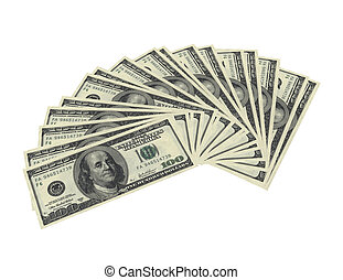 Fanned dollar notes - 3d render of fanned dollar notes on...