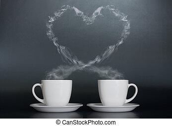 café, tazas, amor, dos