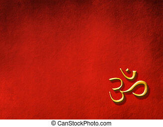 Buddha concept - golden OM sign - Red grunge background with...