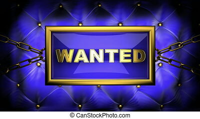 wanted on velvet background