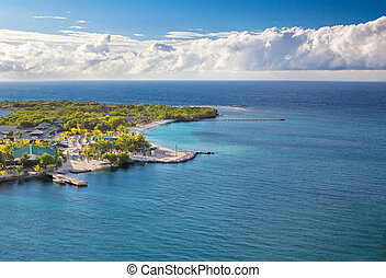 Beach of Isla Roatan in Honduras - Photograph of the coast...