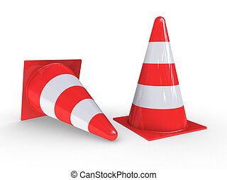 Traffic Pylons for regulation on white background