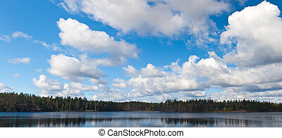 Cumulus clouds over wood lake in the spring