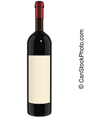 Wine Bottle - red - A Bottle of red wine with label