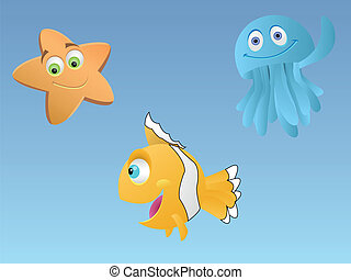 Sea life - Vector illustration of some sea life