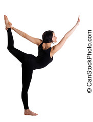 Beauty woman stand in yoga asana - Dancer Pose - young...