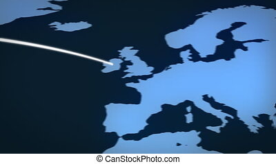 Flight Path - Lines travelling all over the world which can...