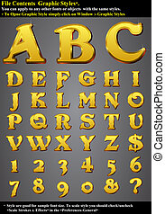 Set Alphabet Emboss Gold - EPS 10 Contain Graphic Style, you...