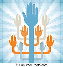 Hands working together design.