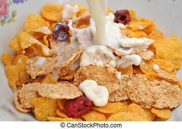 Cornflakes - Preparing the breakfast - cornflakes with the...