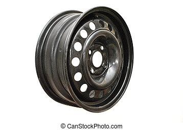 Steel wheel rim  on white background