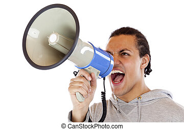 Young, african man screams loudly in megaphone. Isolated on...
