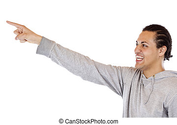 Young, ethiopian man pointing with outstretched arm at ad space