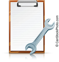 clipboard with spanner vector illustration isolated on white...