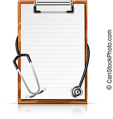 clipboard with phonendoscope vector illustration isolated on...