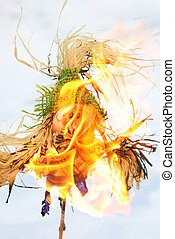 Scarecrow - Burning of a scarecrow of a pancake week. End of...