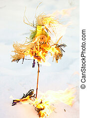 Scarecrow - Burning of a scarecrow of a pancake week End of...