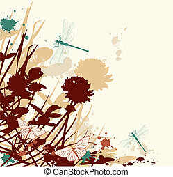 retro floral background - vector retro floral background...