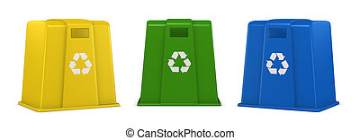 waste containers - three waste containers in different...