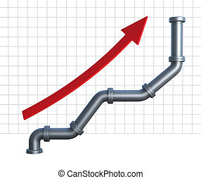 pipeline chart - one growing chart made with pipelines and a...